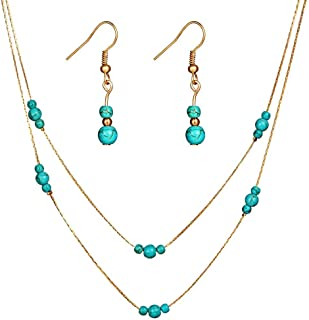 CHOA Turquoise Beads Earrings Necklace Set - Turquoise Floating Bead Necklace & Drop Earring Set for Women and Girls
