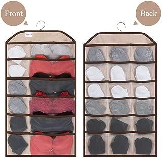 Guken Dual-Sided Bra Organizer Hanging Closet Organizer,30 Mesh Pockets for Bra Underwear Sock Storage,Hanging Storage Organizer with Metal Hanger in Bedroom, Storeroom,Bathroom