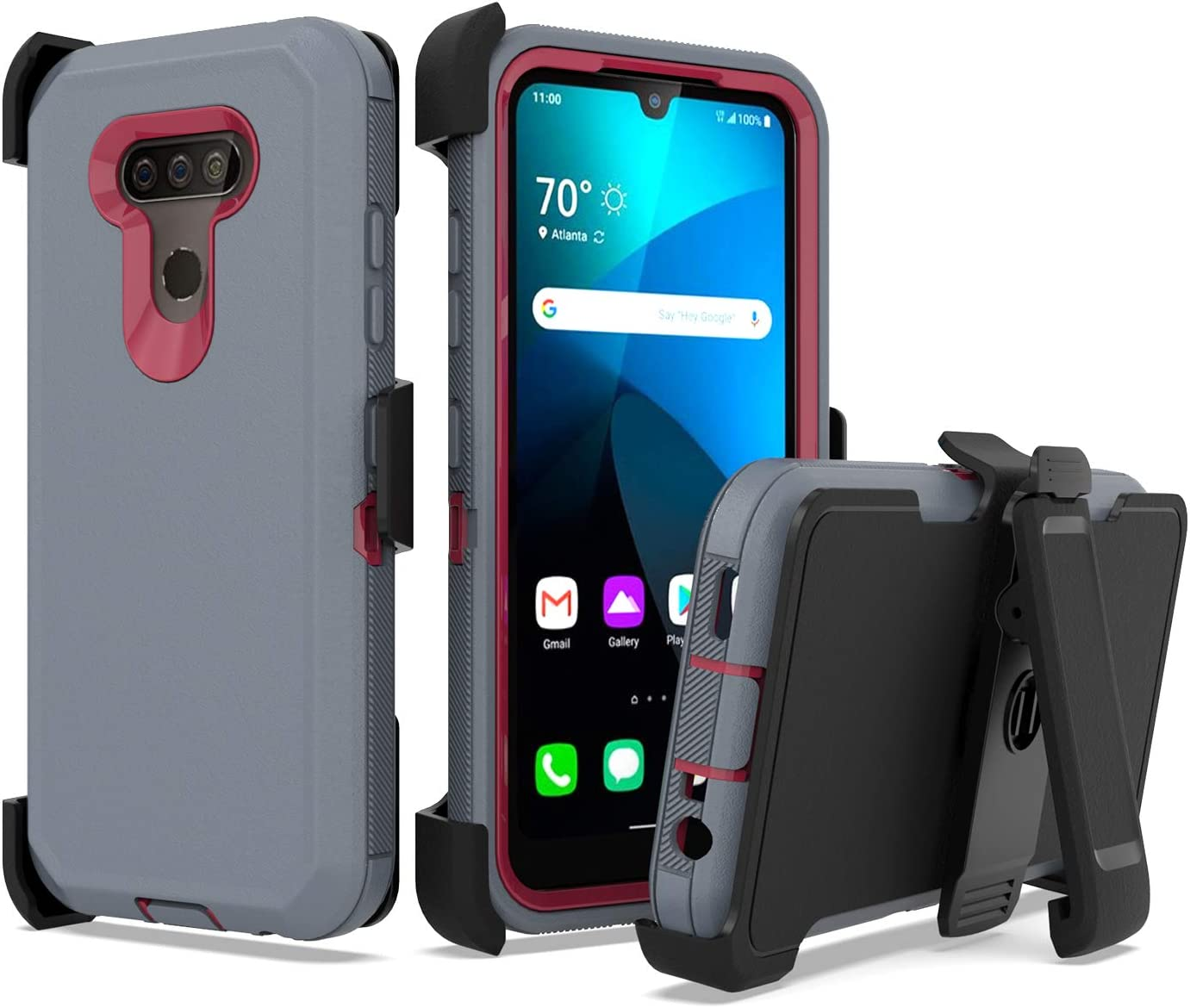 UNC Pro 3 in 1 Belt Clip Holster Cell Phone Case for LG Harmony 4/ LG Xpression Plus 3, Heavy Duty Hybrid Shockproof Bumper Case with Kickstand, Grey/Red