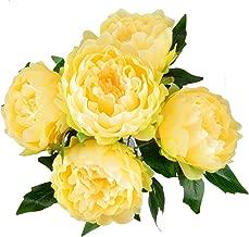 HoveBeaty Artificial Peony Silk Flowers Bouquet Home Wedding Decoration (Light Yellow)