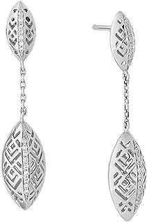 Al Zain Jewellery 18K Al Merriyah M/5 Earrings in White Gold with Diamonds - E3309