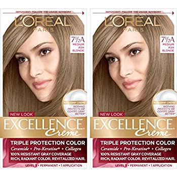 L Oreal Paris Excellence Creme Permanent Hair Color 7.5A Medium Ash Blonde 100 percent Gray Coverage Hair Dye Pack of 2