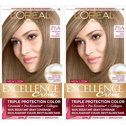 L'Oreal Paris Excellence Creme Permanent Hair Color, 7.5A Medium Ash Blonde, 100% Gray Coverage Hair Dye, Pack of 2