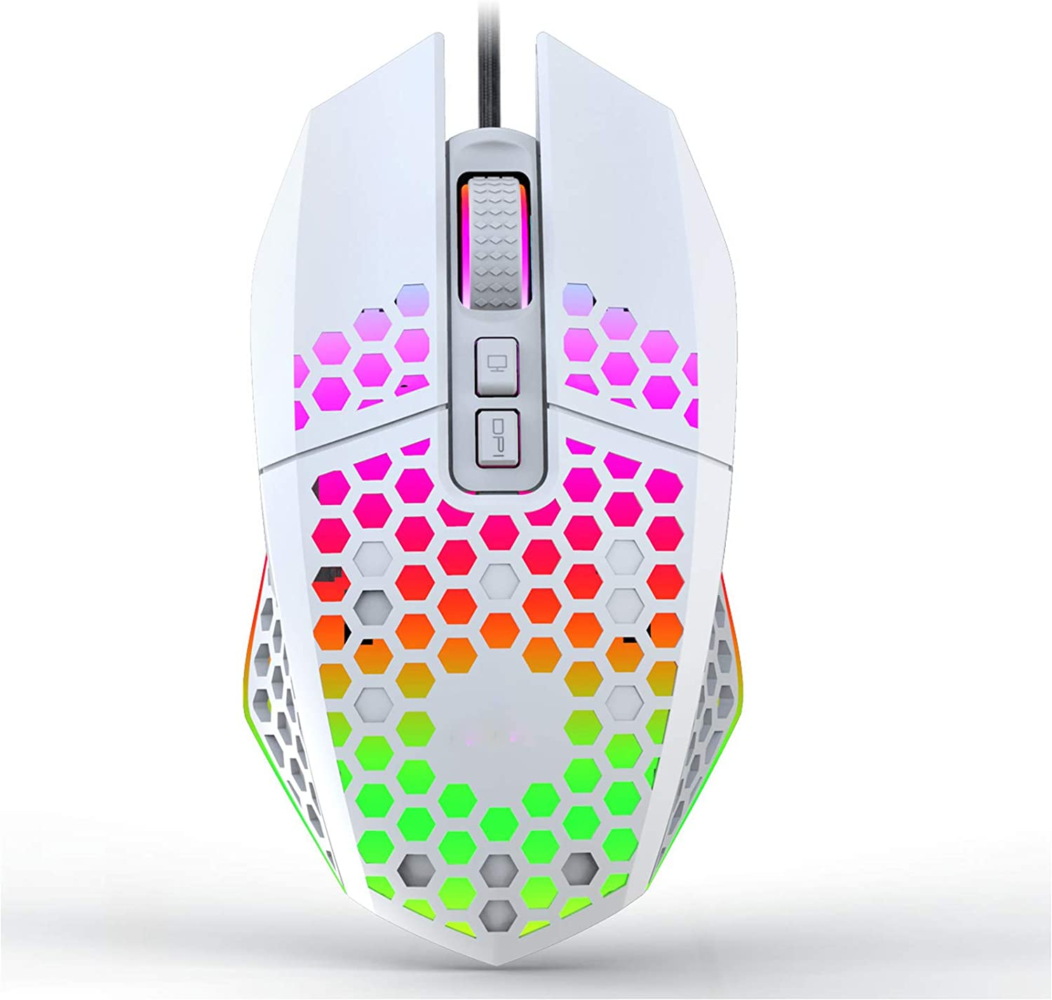 Uiosmuph X801 Wired Gaming Mouse, Honeycomb Lightweight Gaming Mouse with RGB Backlit, 7 Programmable Buttons and One-Click Desktop, 8000 DPI Optical USB Gamer Mouse for Mac, Laptop, Computer – White