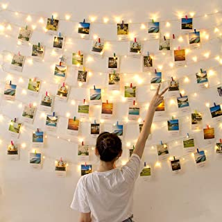 LED Photo Clips String Lights Battery Operated Indoor Fairy String Lights with Clips for Hanging Pictures,Cards,Artwork,Be...