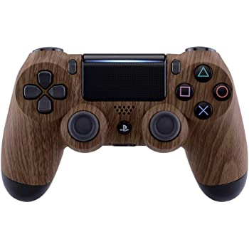 eXtremeRate Brown Wood Soft Touch Grip Front Housing Shell Faceplate Cover for Playstation 4 PS4 Slim PS4 Pro Controller Cuth-ZCT2 JDM-040 JDM-050 JDM-055 - Controller NOT Included