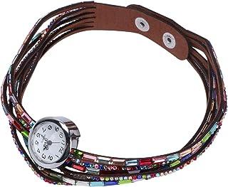 Hemobllo Strass Quartz Montre Bracelet Coloré Poignet Wrap Montre Vintage Casual Femmes Boucle Montre Manchette Bracelet p...