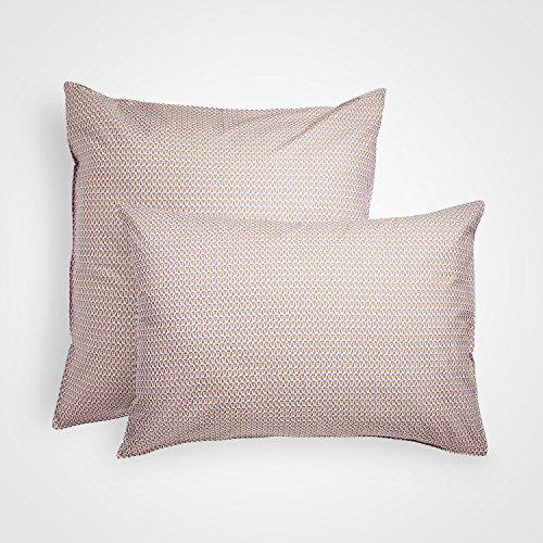 BLANC CERISE Voile Graphique Taie d'oreiller, Gris et Jaune, 65 X 65cm