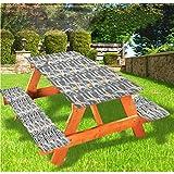 LEWIS FRANKLIN - Mantel ajustable a rayas con fundas de banco, diseño de arco con bordes elásticos en forma de arco, 70 x 72 cm, juego de 3 piezas para camping, comedor, exterior, parque, patio