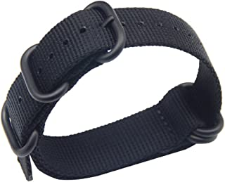 Black High-end Superior Nato style Ballistic Nylon Watch Band Strap Replacement for Men Braided