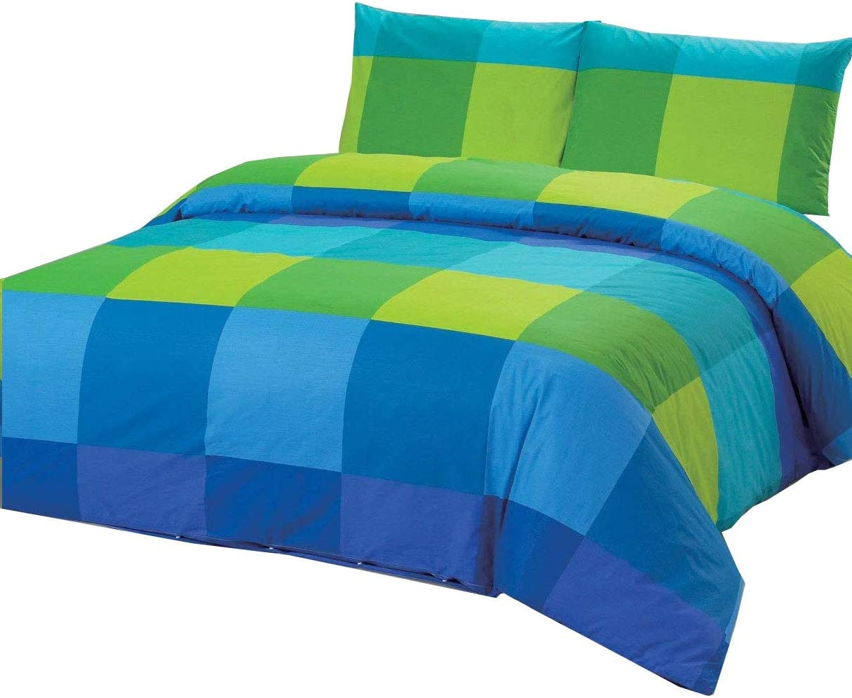 100 Percent Cotton Full/Queen Duvet Cover Set with 2 Pillow Cases, Blue Green Large Checkered Pattern, 200 Threat Count