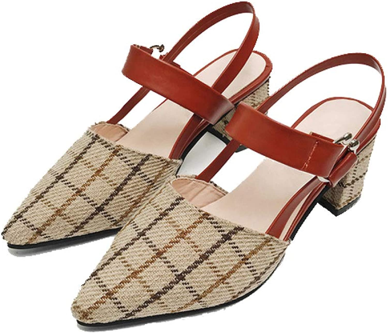 MEIZOKEN Womens Ankle Strap Slingback Chunky Heel Sandals Fashion Pointed Toe Checkered Pumps Sandal
