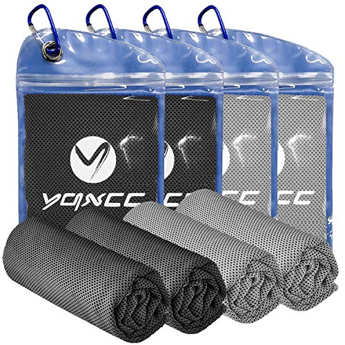 "YQXCC 4 Pack Cooling Towel (40""x12"") Cool Cold Towel for Neck, Microfiber Ice Towel, Soft Breathable Chilly Towel for Yoga, Golf, Gym, Camping, Running, Workout & More Activities"