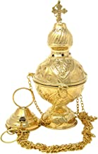Needzo Orthodox High Polished Brass Hanging Censer Incense Burner with Chain, 8 4/5 Inch