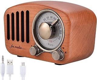 retro radio holz Handgemacht Walnußholz Tragbar Bluetooth Lautsprecher Qoosea Bluetooth 4.2 Drahtloser Lautsprecher mit Radio FM Natur Holz Bluetooth Lautsprechers mit Bass und Subwoofer