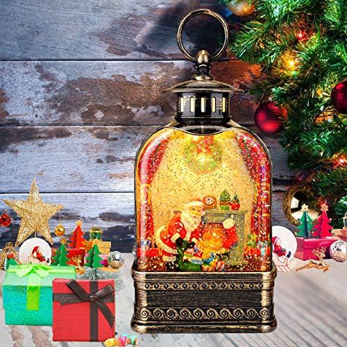 CaiFang Christmas Snow Globe Lantern, 11-inch Polyresin Musical Water Globe Lantern, Water Snow Globe 6H Timer Santa Glitter Lantern Lamp for Gifts/Decoration
