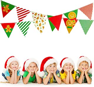 Merry Christmas Banner Christmas Decorations Gingerbread Man Cardstock Triangular Christmas Pennant Bunting Garland Décor Christmast Ornaments Flags for Home Christmas Decoration, Party, Shopping Mall