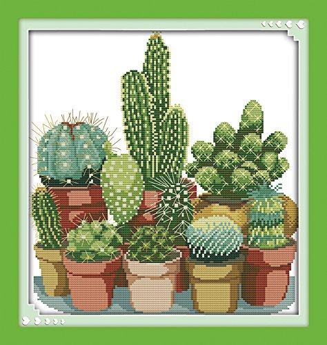 Joy Sunday Kits de punto de cruz Patrones sencillos estampados 11CT Bordado para niñas Manualidades DMC Suministros de punto de cruz Cactus-Costura