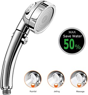 Handheld Shower Head, High Pressure 3-Spray Setting Showerhead Detachable Chrome Hand Shower with ON/OFF Pause Switch, Water Saving Mode for Bathroom Puppy Shower Accessories (Silver)