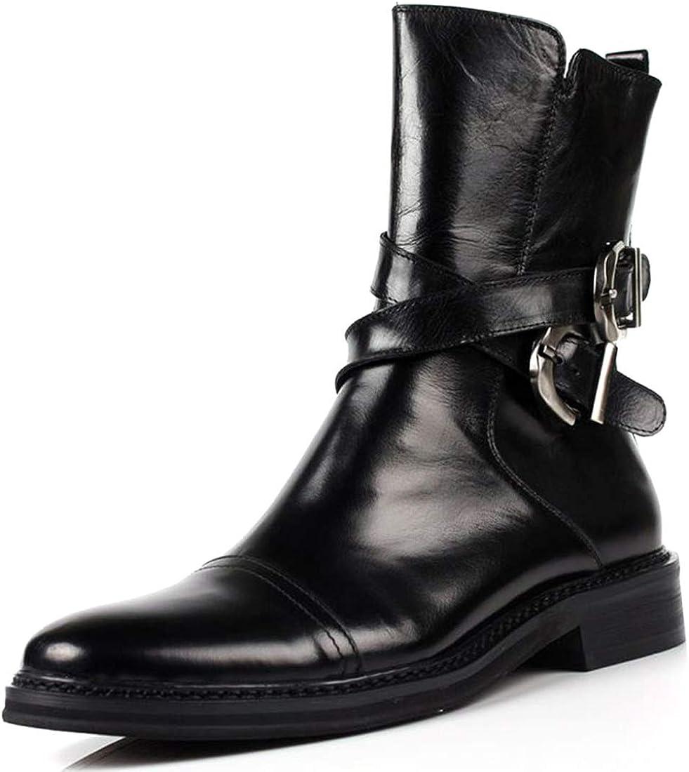 SANTIMON Mens Boots Leather Max 60% OFF Cap-Toe 2021 new Dress Zipper Mid-Calf Casual