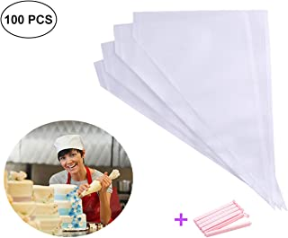 Piping Bags 16-Inch 100 Pack Pastry Bag Icing Bags Frosting Bags Cake Decorating Bags Disposable Icing Bags Pastry Disposable Bag Disposable Piping Bags for Cake Cupcake Cookie Decorating (white)