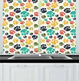 Ambesonne Dog Lover Kitchen Curtains, Hand Drawn Paw Print Doodles Circular Pattern Drawing Style Animal, Window Drapes 2 Panel Set for Kitchen Cafe Decor, 55' X 39', Charcoal Beige
