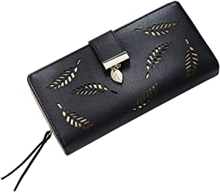 OULII Women Buckle Clutch Wallet Hollow Leaves Long Leather Purse Elegant Clutch Wallet for Card Cash Holding (Black)