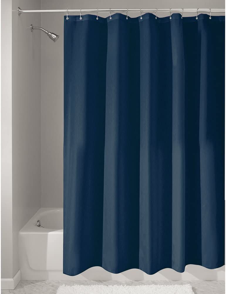 iDesign Poly Bath Curtains, Long Shower Curtain, Made of Polyester, Navy