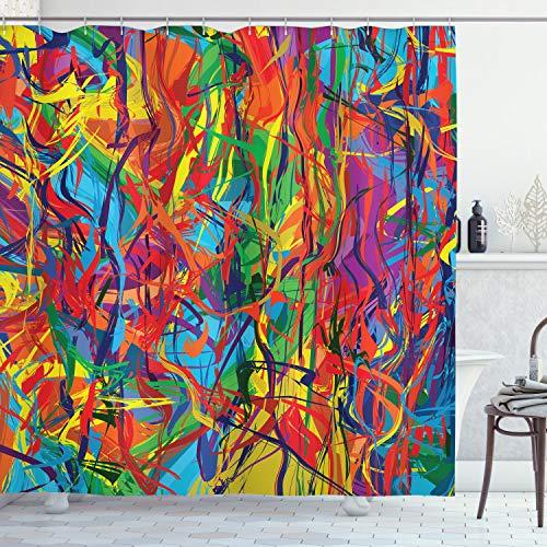 ABAKUHAUS Duschvorhang, Mehrfarbiger eingekreister Regenbogen Muster Bunte Linien Moderne Ölgemälde Grafik als Druck, Blickdicht aus Stoff mit 12 Ringen Waschbar Langhaltig Hochwertig, 175 X 200 cm