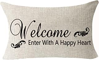 Best Gifts Funny Nordic Black Warm Sweet Inspirational Sayings Welcome Enter With A Happy Heart Cotton Linen Waist Lumbar ...