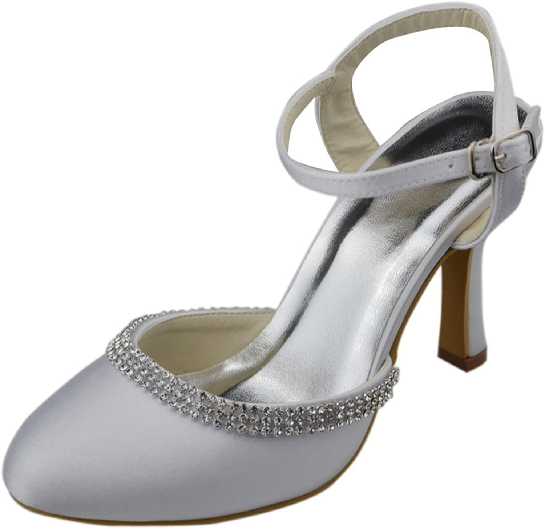 Minishion Womens Stiletto High Heel Closed Toe Satin Evening Party Bridal Wedding Sparkle Strappy Pumps