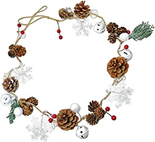 BANBERRY DESIGNS Winter Christmas Garland – Pinecones, Cotton, Pine, Snowflakes, Red Berries - Rustic Farmhouse Christmas Home Décor - 45 Inches Long