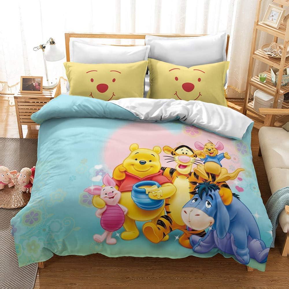 colore: Marrone in fibra di poliestere confortevole 135 x 200 cm Copripiumino con motivo animale CQLXZ Anime Cartoon Winnie The Pooh