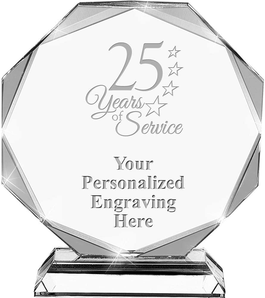 25 Complete Free Shipping Years of Service Crystal Custom 6.75