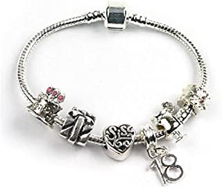 Liberty Charms Teenager 'Happy Birthday Teen Queen' Sis, 13/16/ 18 Silver Plated Charm/Bead Bracelet