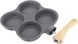 4 Kopp Ägg Stekpanna Aluminiumlegering Non Stick Frukost Pannkaka Plett Crepe Maker Med Trä Halkfri Handtag Kostym för Hem...