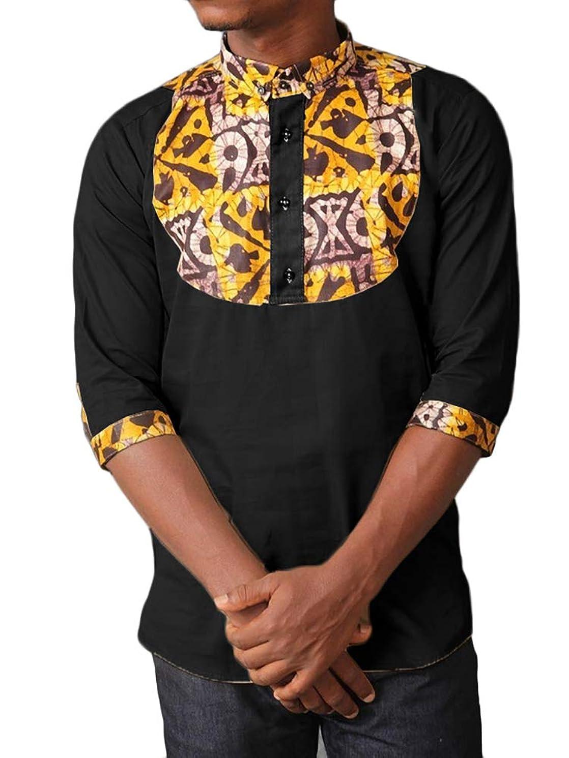 Mens African 3/4 Sleeves Dashiki Henley Shirts Mandarin Collar Casual Cotton Summer T-Shirt Tops