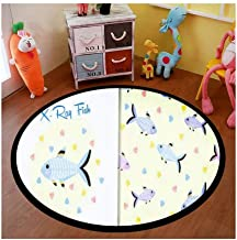 Kids Round Area Rugs Baby Crawling Mats Game Blanket Baby Play Mat Rugs Cute x ray Fish Animal Cartoon Seamless with s Card Set Floor Carpet Indoor Outdoor for Playroom Nursery Bedroom