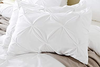 King Pillow Sham Set of 2 Pinch White Pillow Shams King 20X36 Pillow Cover/Cases 600 TC 100% Egyptian Cotton Hotel Class Bedd