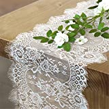 B-COOL Vintage White Lace Table Runner Overlay Exquisite Lace Fabric with Rose Embroidered Floral Table Runners Perfect for Rustic Chic Wedding Reception Table Decor Boho Party Decor 14 X 120