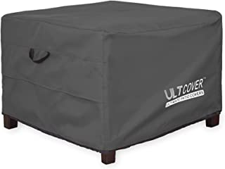 ULTCOVER Waterproof Patio Ottoman Cover Square Outdoor Side Table Furniture Covers Size 27L x 27W x 18H inch, Black