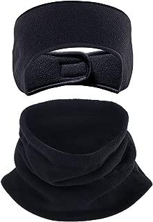 Fleece Ear Warmers Headband Fleece Neck Warmer Set Ear Muffs Neck Gaiter Tube for Men Women, Stay Warm & Cozy with our Thermal Polar Fleece & Performance Stretch,Perfect for Sports & Dail (2 pcs)