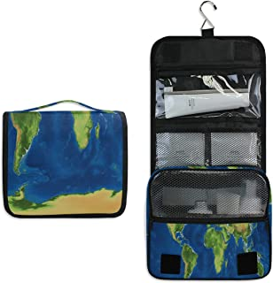 Travel Hanging Toiletry Bag EARTH WORLD MAP Cosmetic, Makeup and Toiletries Organizer | Compact Bathroom Storage | Home, Gym, Airplane, Hotel, Car Use