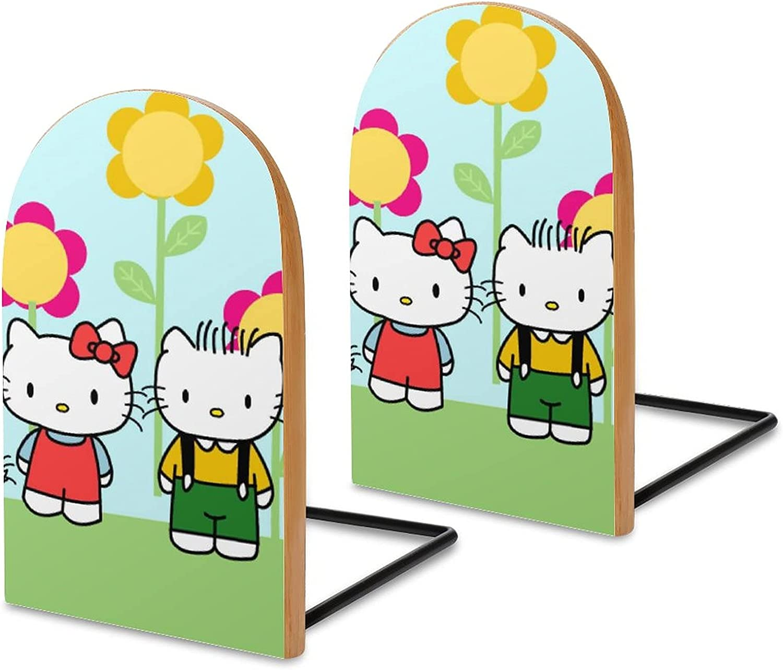 KRISMARIO Hello Kitty Green 2pcs Heavy Wood Logs Bookends Modern