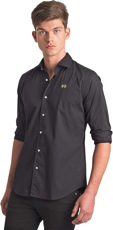 La Martina - Camisa negra básica con logotipo dorado Slim Fit ...