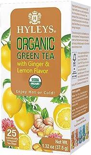 Hyleys Organic Ginger and Lemon Flavor Green Tea - 25 Tea Bags (100% Natural, Sugar Free, Gluten Free and Non-GMO)