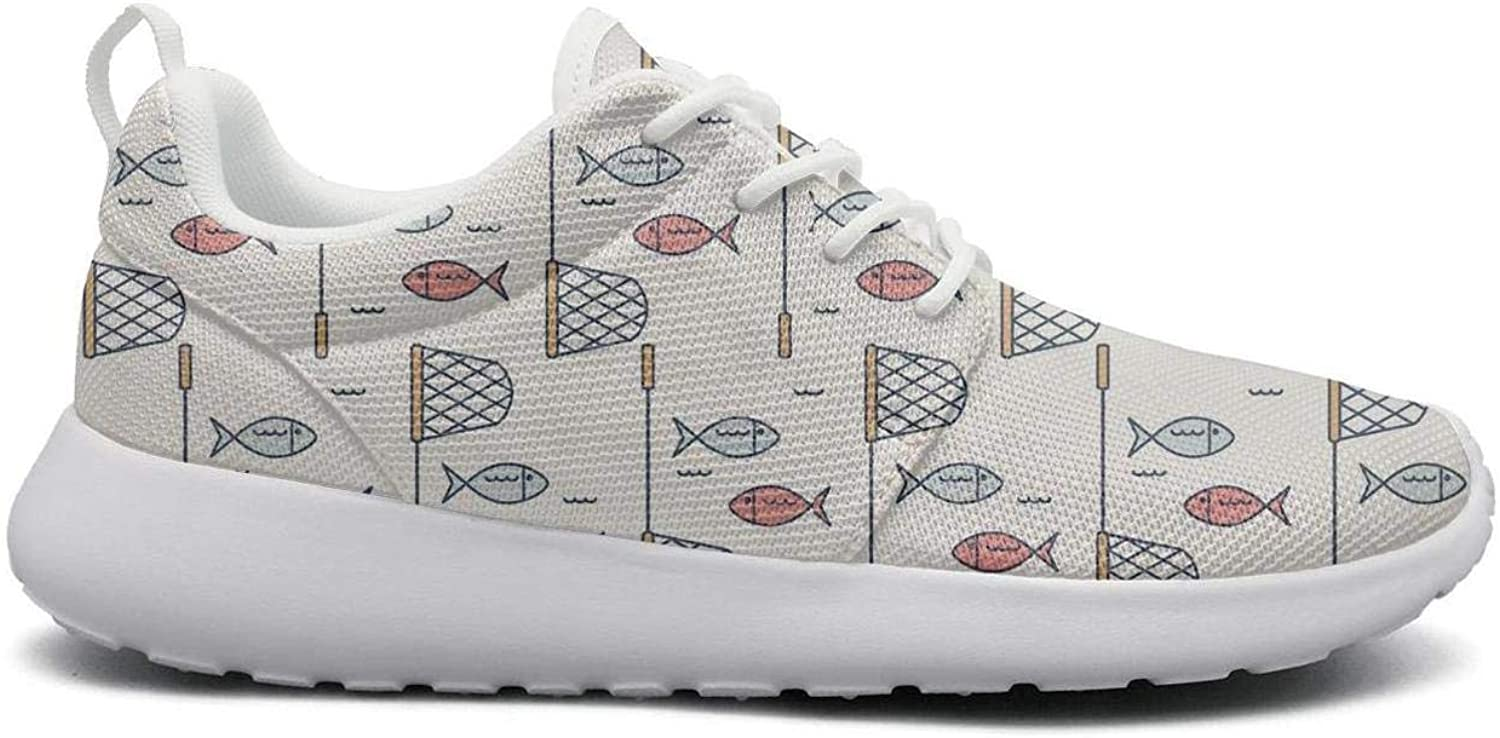 Ipdterty Wear-Resistant Traveling Sneaker Fish and net Womens Unique Track Running shoes