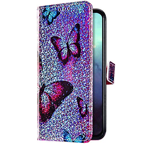 Uposao Kompatibel mit Huawei P Smart Z Hülle Glitzer Bling Strass Diamant Bunt Muster Handyhülle Leder Hülle Wallet Flip Case Brieftasche Schutzhülle Tasche Magnetisch,Schmetterling