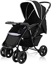 BABY JOY Two Way Baby Stroller, Infant Foldable Conversable Pushchair w/ 5- Point Safety Harness, Sleeping Cushion, Storage Basket, Free Standing (Deluxe Black)