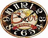 BHP Wanduhr B991757 Arabisches Ziffernblatt Vintage Bier Zeit Oval Wohnzimmer Büro Küchen Kneipe Wanduhr Analog Deko Rustikal Eisen Rost Look Bunt It´s Beer O´Clock 49,00 cm 12 Stunden
